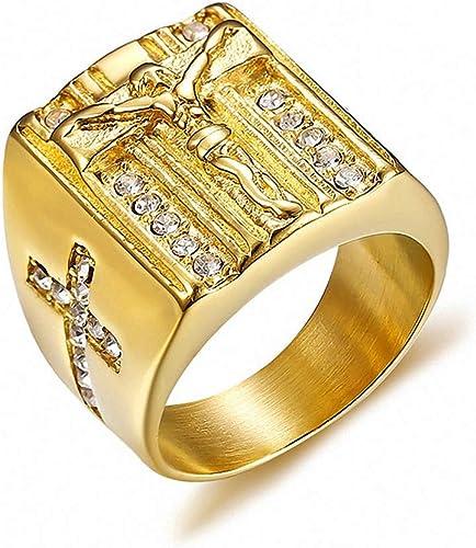 New Jesus Cross CZ Stainless Steel Men Ring Steel Silver Women Christmas 7