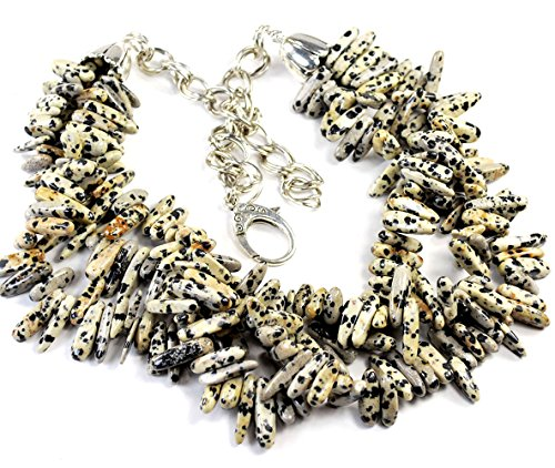 Multi Strands Dalmatian Jasper Branch Beads Necklace with Silver Tone Clasp 23