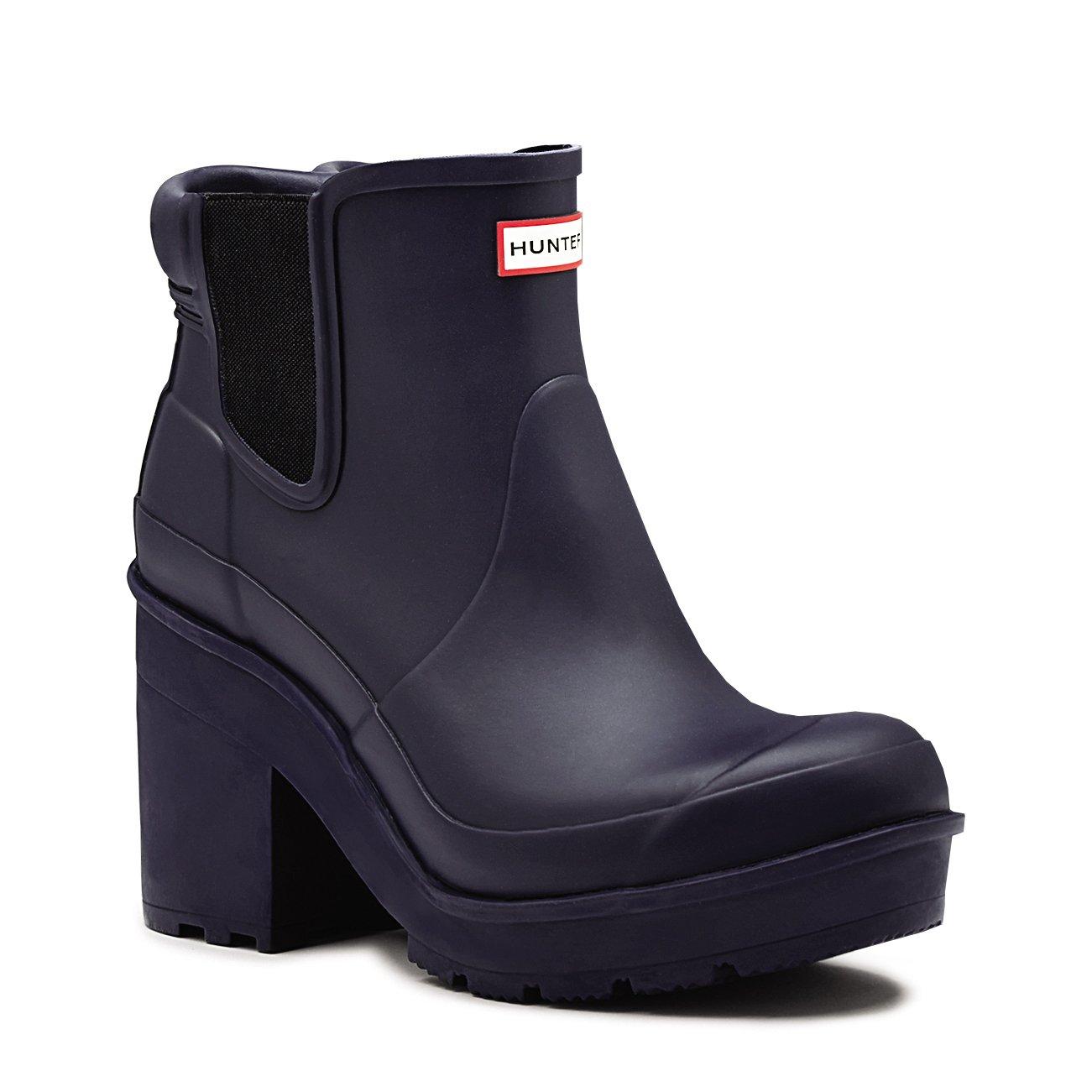 Hunter Womens Original Block Heel Chelsea Yard Snow Wellingtons Boots - Midnight - 9
