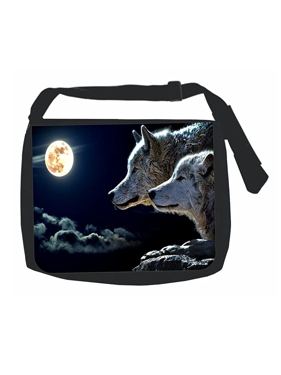 Multi-Purpose Wolves Wildlife Animals in the Moonlight Black Laptop Shoulder Messenger Bag and Small Wire Accessories Case Set Girls