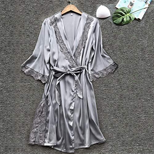 Pervobs Women Loose Sexy Sleepwear Lingerie Lace Soft ComfortableTemptation Belt Underwear Nightdress(L, Gray) by Pervobs T-Shirt (Image #1)