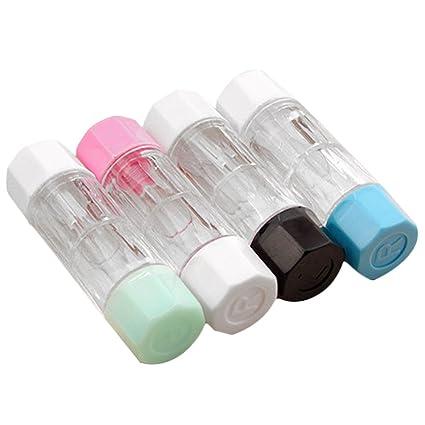Vococal - 4 x Fundas de Lentes de Contacto de RGP Duro/Caja Protectora de Lentillas para Uso en el Hogar y el Viajes (4 Colores)