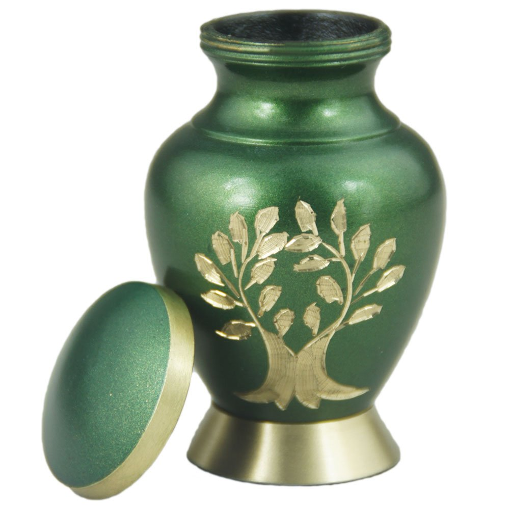 Keepsake Urn for Human Ashes Small – Mini Funeral Cremation Box Adult- Brass Hand Engraved – Fits a Small Amount of Cremated Remains – Display Burial at Home or Office Decor Aria Tree of Life, Green