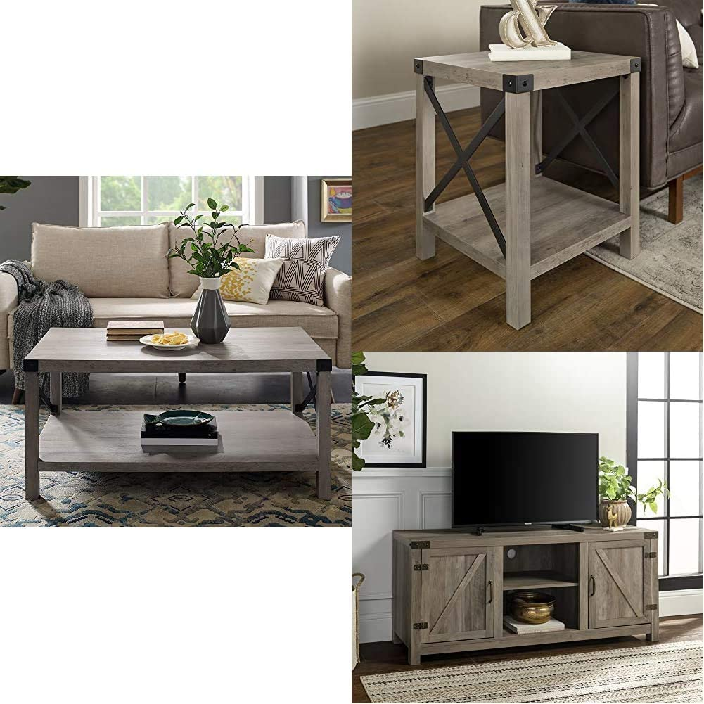 WE Furniture Square Table, 18 Inch, Gray Wash   Rectangle Accent Coffee Table Living Room Ottoman Storage Shelf, Gray Wash   Universal Stand for TV's up to 64