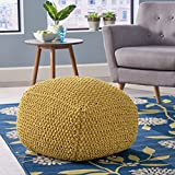 Lucy Knitted Cotton Square Pouf, Yellow