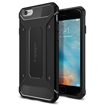 spigen Funda iPhone 6s, Carcasa [Rugged Armor] Absorción de Choque Resistente y diseño de Fibra de Carbono para el iPhone 6S / iPhone 6, Negro