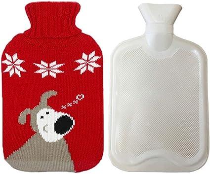 Petite bouillotte de 0,5 l avec housse en tricot amovible et portable pour soulager la chaleur et dormir confortablement bouillotte de No/ël pour enfants
