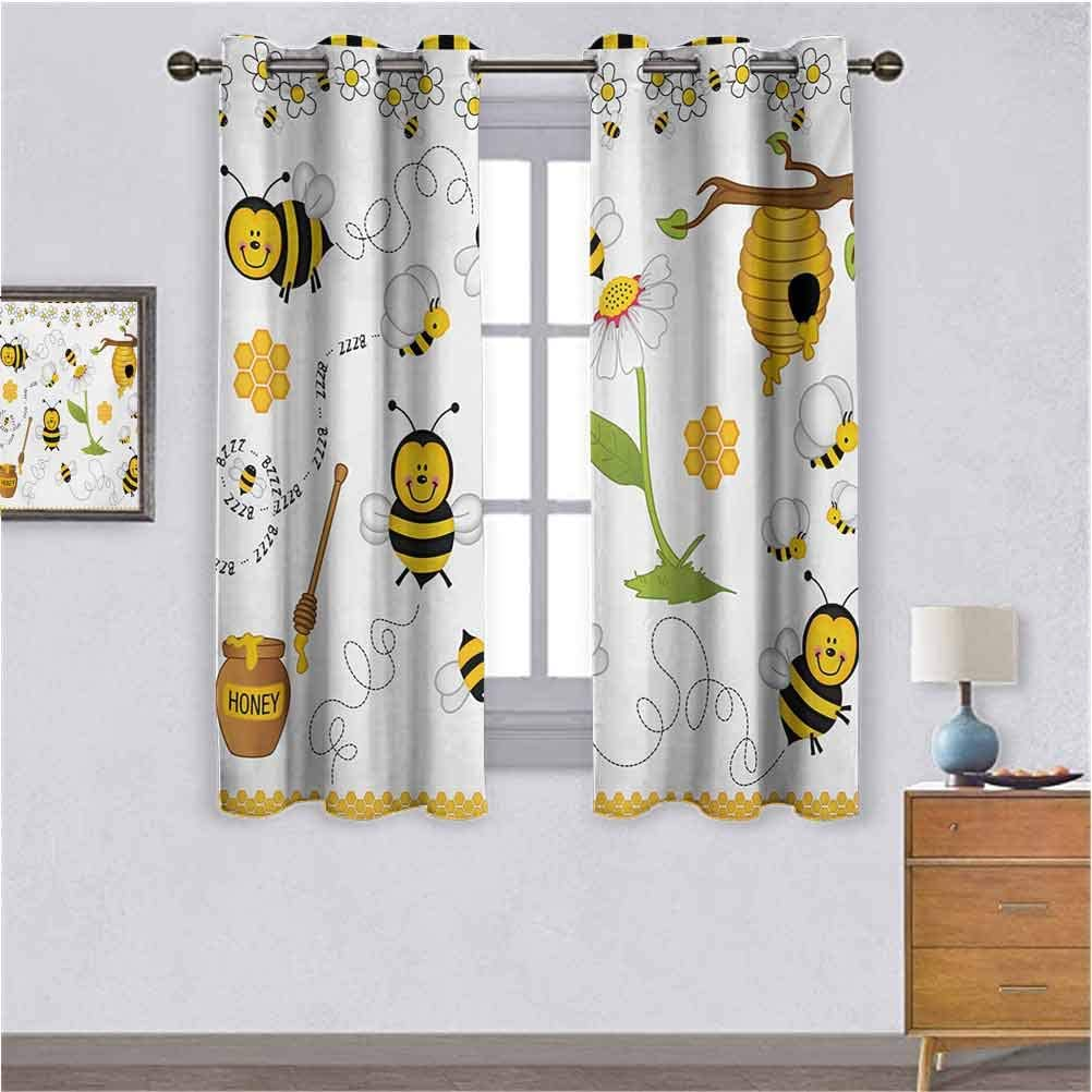 RenteriaDecor boy Nursery Curtains,Small Curtains CollageFlying Bees Daisy Honey Chamomile Flowers Pollen Springtime Animal Print Couple Bedroom Exclusive Curtains Yellow White Black W104 X L84 inch