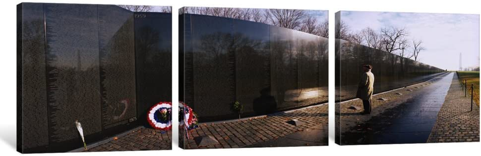 Vietnam Veterans Memorial 1.5 by 48 by 16-Inch Washington DC iCanvasART 3-Piece Side Profile of a Person Standing in Front of a War Memorial USA Canvas Print by Panoramic Images