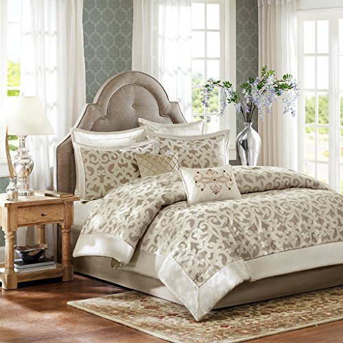 Velvet Vine - Madison Park Signature Kingsley King Size Bed Comforter Set Bed in A Bag - Khaki, Jacquard Vine Fretwork – 8 Pieces Bedding Sets – Faux Velvet Bedroom Comforters