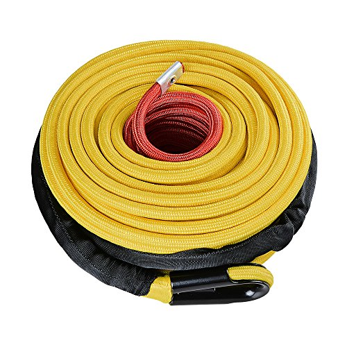 Astra Depot Yellow 95ft x 3/8 Inch 22000LBS Synthetic Winch Rope Cable with Heat Guard Protective Sleeve All Rock Guard for Jeep ATV UTV 4X4 Off-Road Truck ()