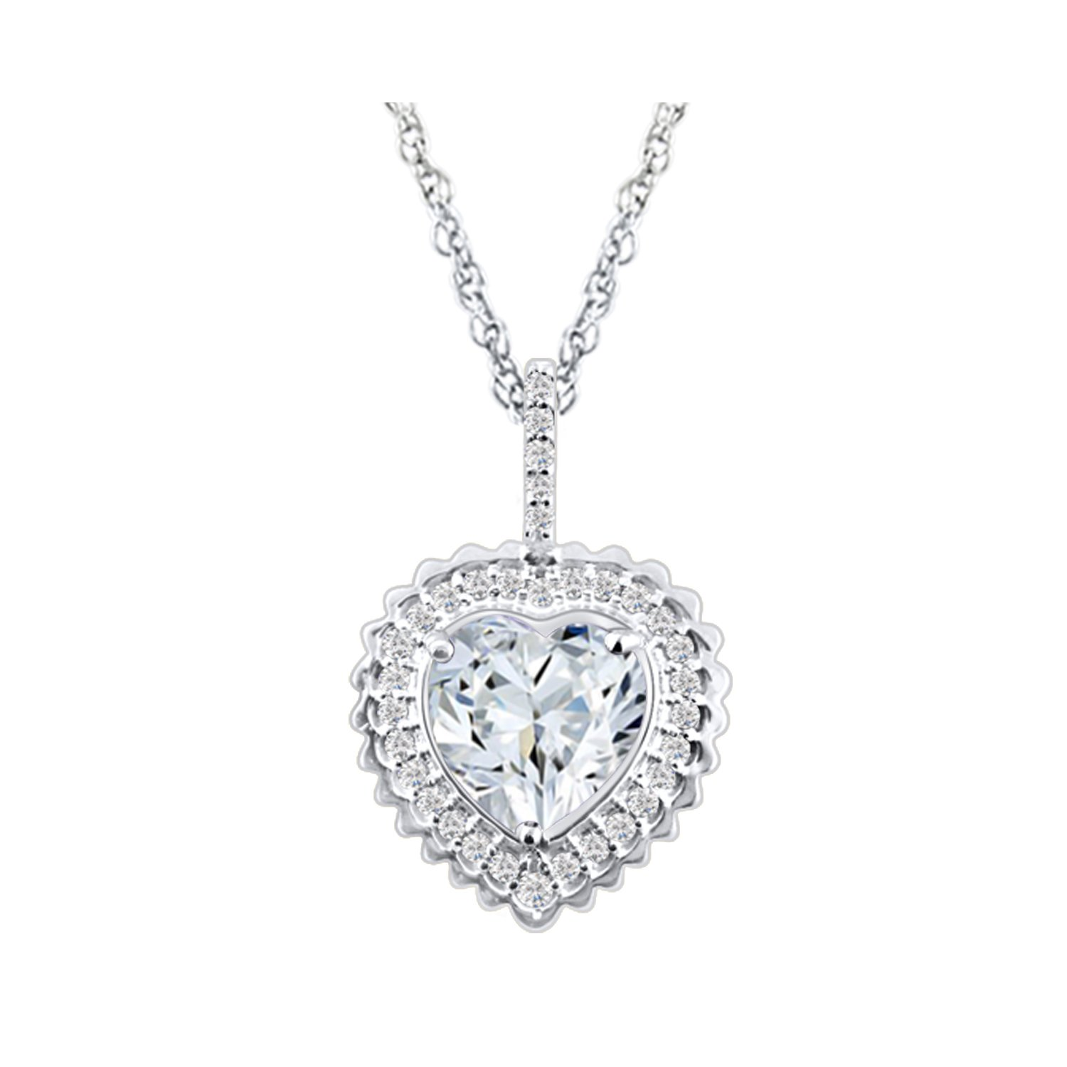 DiscountHouse4you Heart /& Round 0.97 Ct White Cubic Zirconia Heart Halo Pendant Necklace in 14k White Gold Over