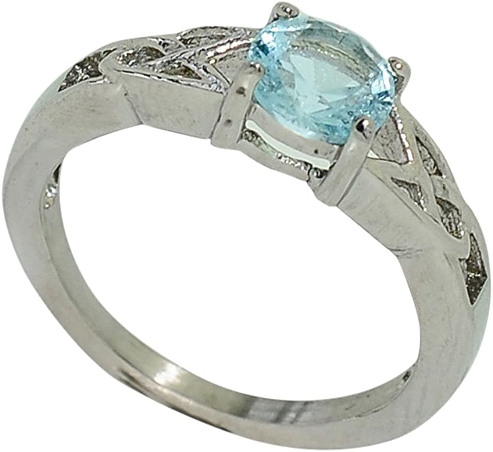 Birthstone Ring~March~Stainless Steel~3 Stone~Cubic Zirconia CZ~Aquamarine~Light Blue Crystal~Mothers Ring~Fashion Ring~Womens Jewelry