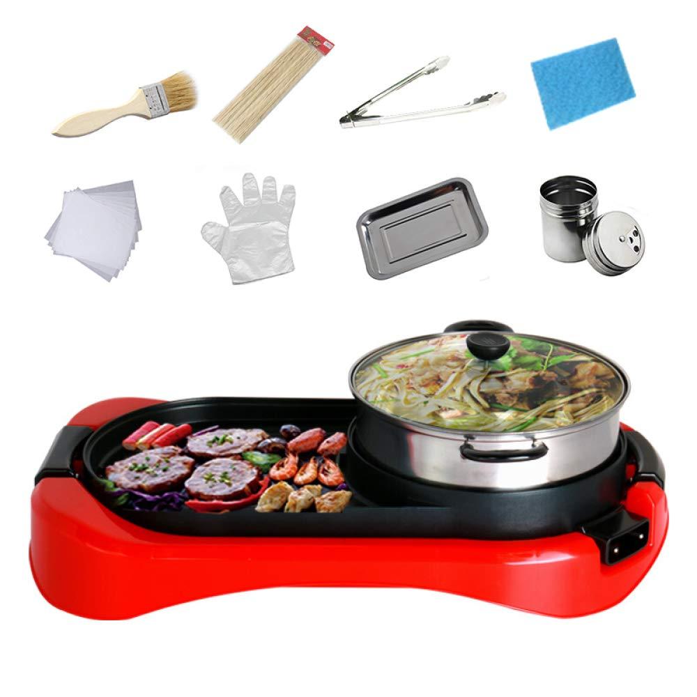 RNG-Electric baking pan Grill Elettrico Forno Elettrico per Uso Domestico Barbecue Senza Fumo Piastra di Cottura Elettromeccanica Griglia di Controllo Automatico della Temperatura,Red57.5  21  32CM