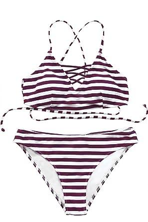 b3a9aa868c CUPSHE Women's Stripe Printing Strappy Cross Padding Bikini Set Beach Swimwear  Bathing Suit (Small,