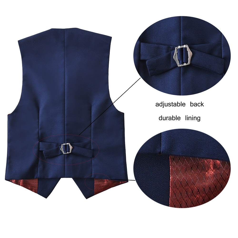 SaiLiiny Boys Vest 3 Buttons Adjustable Suits Vest for Kid Classic Black Blue Vests Slim Fit Dresswear