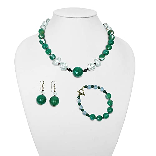 Necklace,earrings Set of Green necklace and Green earrings Green kit Agate Hematite Earrings Bracelets Crown Handmade Gift for her