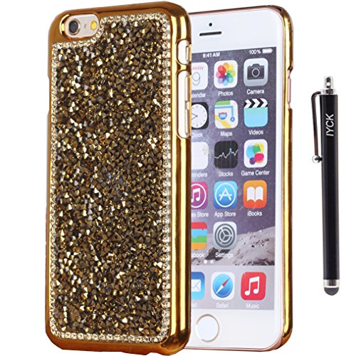 iPhone 6 Case, iPhone 6S Case, iYCK Luxury 3D Handmade Electroplated Hard Plastic Crystal Diamond Rhinestone Bling Glitter Slim Snap On Shell Back Skin Case Cover for iPhone 6/6S 4.7inch - Rhinestones Cover