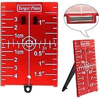 Plaque de carte cible pour niveau laser rouge, 104 x 74 mm, avec aimant et socle arrière, lignes laser améliorées et point laser (rouge)