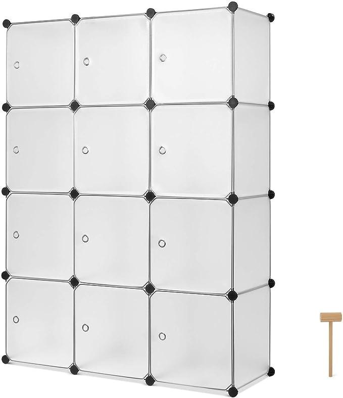 Homfa Armario Modular Estantería Modular Organizador para Ropas de 12 Cubos Blanco 105x35x140cm: Amazon.es: Hogar