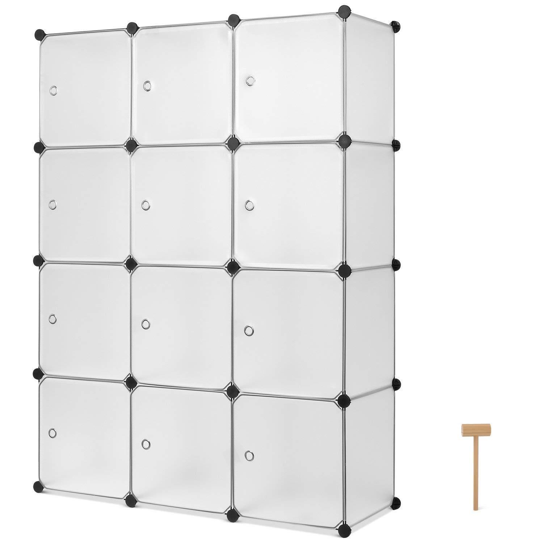 Homfa Armario Modular Estantería Modular Organizador para Ropas de 12 Cubos Blanco 110x145x37.5cm HF