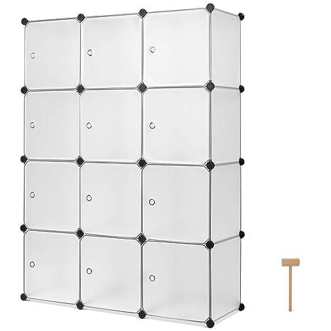 Homfa Armadio Modulare con 12 Cubi, Scaffale Componibile con Ante ...