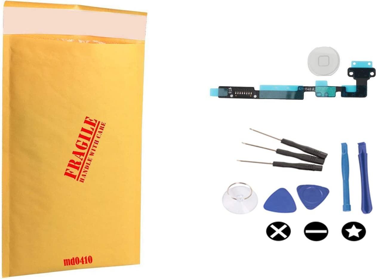 (md0410) White Menu Home Button Flex Ribbon Cable Replacement Part Compatible for ipad Mini 1 & 2 Model A1432 A1454 A1455 A1489 A1490 A1491 + Tools Kit