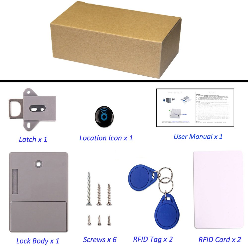 RFID Locks for Cabinets Hidden DIY Lock - Electronic Cabinet Lock, RFID Card/Tag/Wristband Entry by wooch (Image #7)
