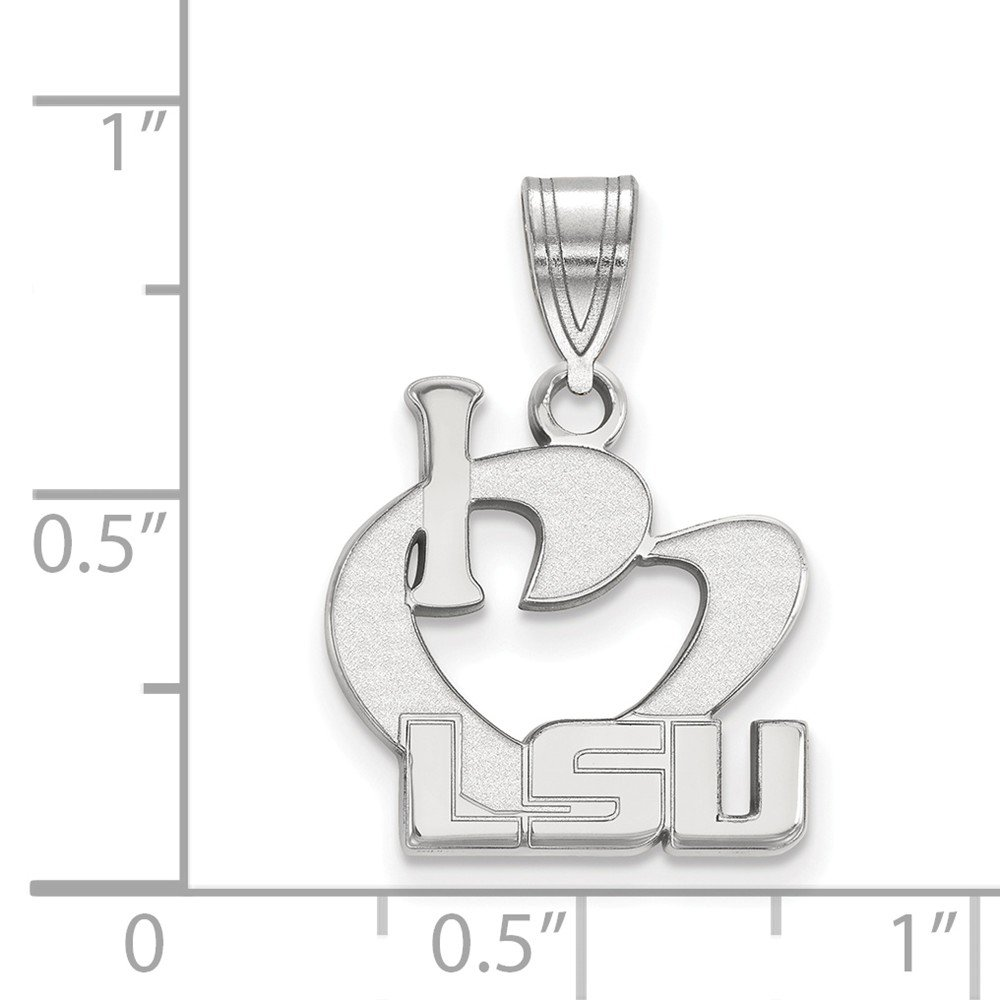 15mm x 23mm Solid 925 Sterling Silver Louisiana State University Large I Love Logo Pendant