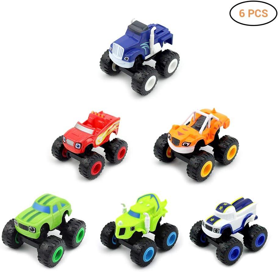 Ggdoo Paquete de 6 niños de Coches de Juguete y Monster Machines Trucos Super Blaze niños del Carro del Coche Coll Regalo para el niño del cumpleaños Juguetes