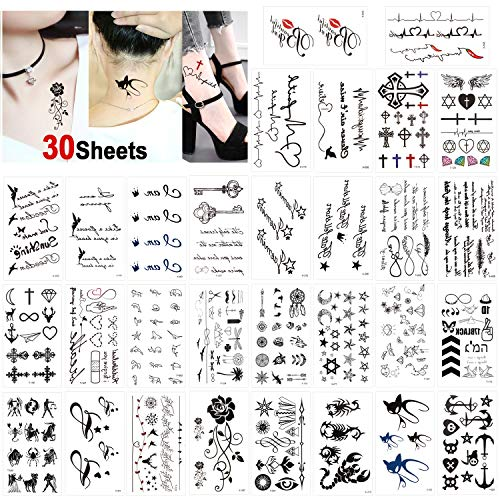 Konsait Temporary Tattoos for Adult Women Men Kids(30 Sheets), Waterproof Temporary Tattoo Fake Black Tiny Tattoos Body Art Sticker Hand Neck Wrist Cover Up Set -