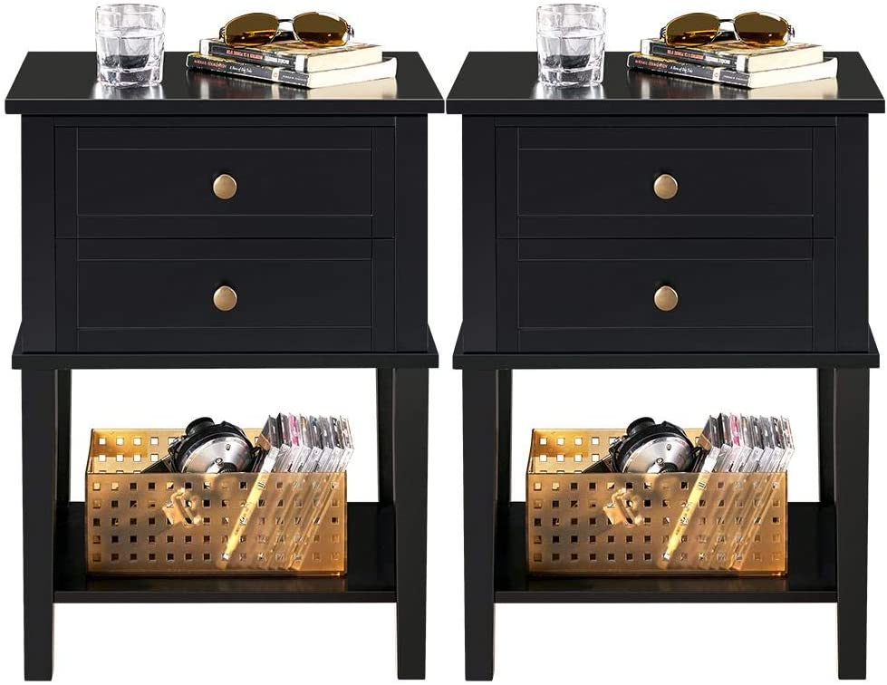 Black YAHEETECH Nightstand with Drawers Accent Table Bed//Sofa Side Table Cabinet Bedroom Furniture