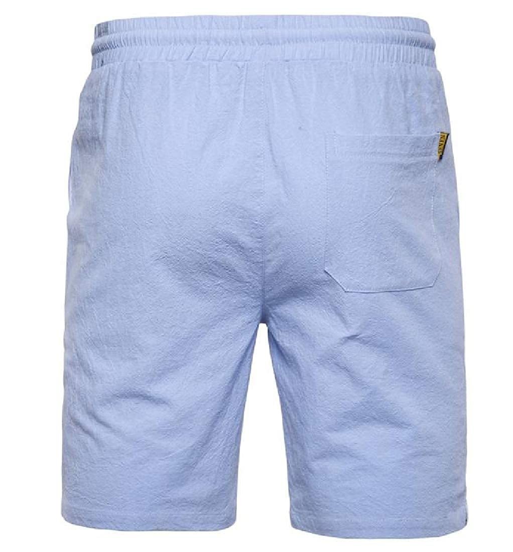 Blyent Men Straight Fit Holiday Summer Pure Color Drawstring Boardshorts