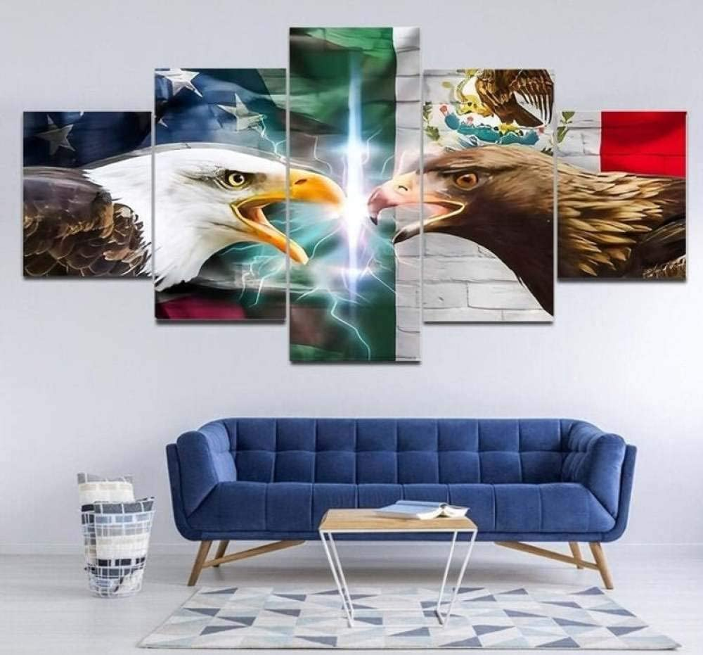 TOPJPG Custom Painting Pictures Mexican and American Flag Eagles Decoration Canvas Prints Wall Art Framework Modern Art Decor Bathroom Bedroom Kitchen Modular Framed Ready to Hang