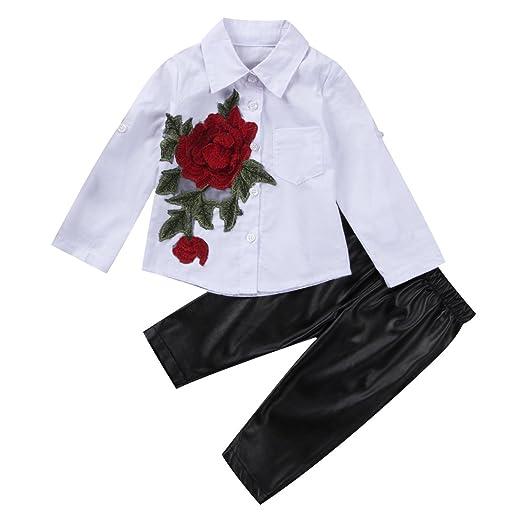 33a39d696c41 Amazon.com  Toddler Kids Baby Girls 3D Flower Blouse Shirt Tops+PU ...
