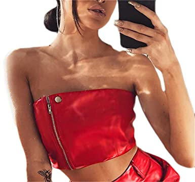 fb8ed01a79 Frieed Women s Sexy Strapless Bandeau Zip Faux-Leather Pu Crop Tops Tube  T-Shirt