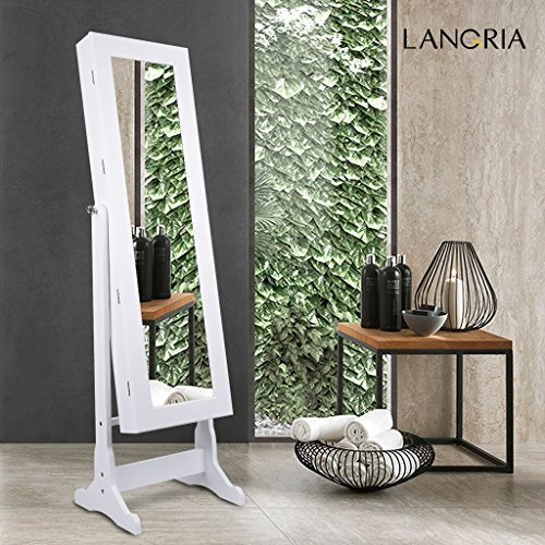 LANGRIA Lockable Jewelry Cabinet Free Standing Jewelry Armoire Organizer  Full Length Mirrored, 2 Drawers,