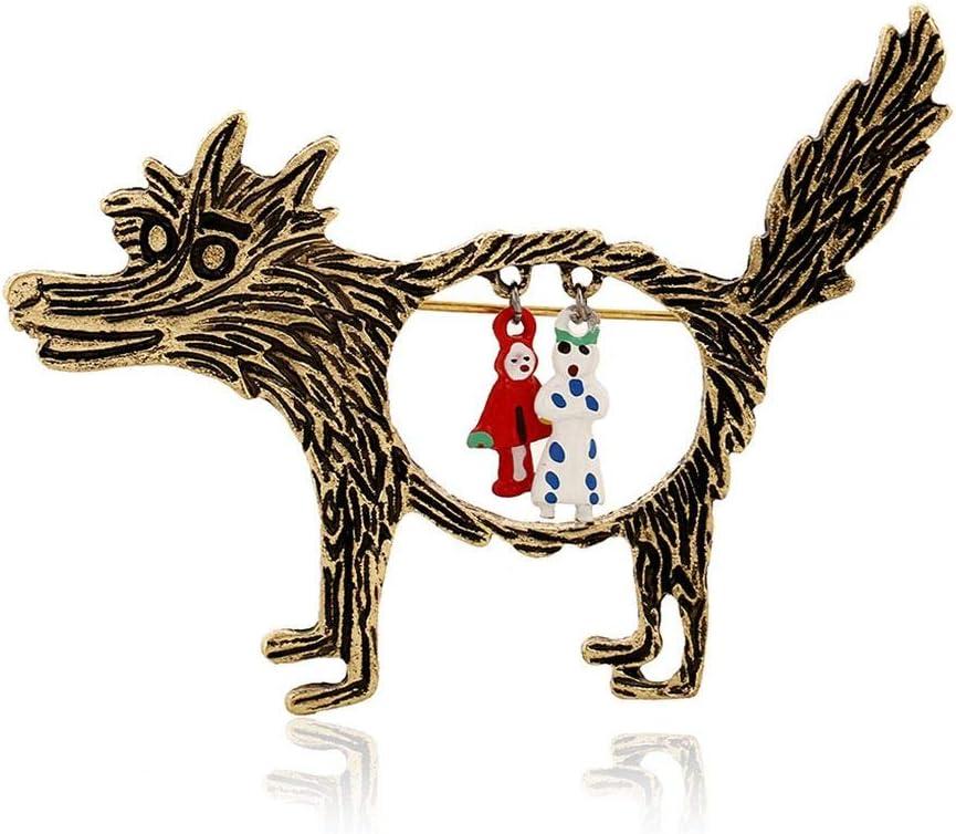 rongweiwang Broche Lobo Vendimia de la joyer/ía de la Vendimia Broches Lobo Caperucita /únicos Animados de Punk Pernos de Las broches