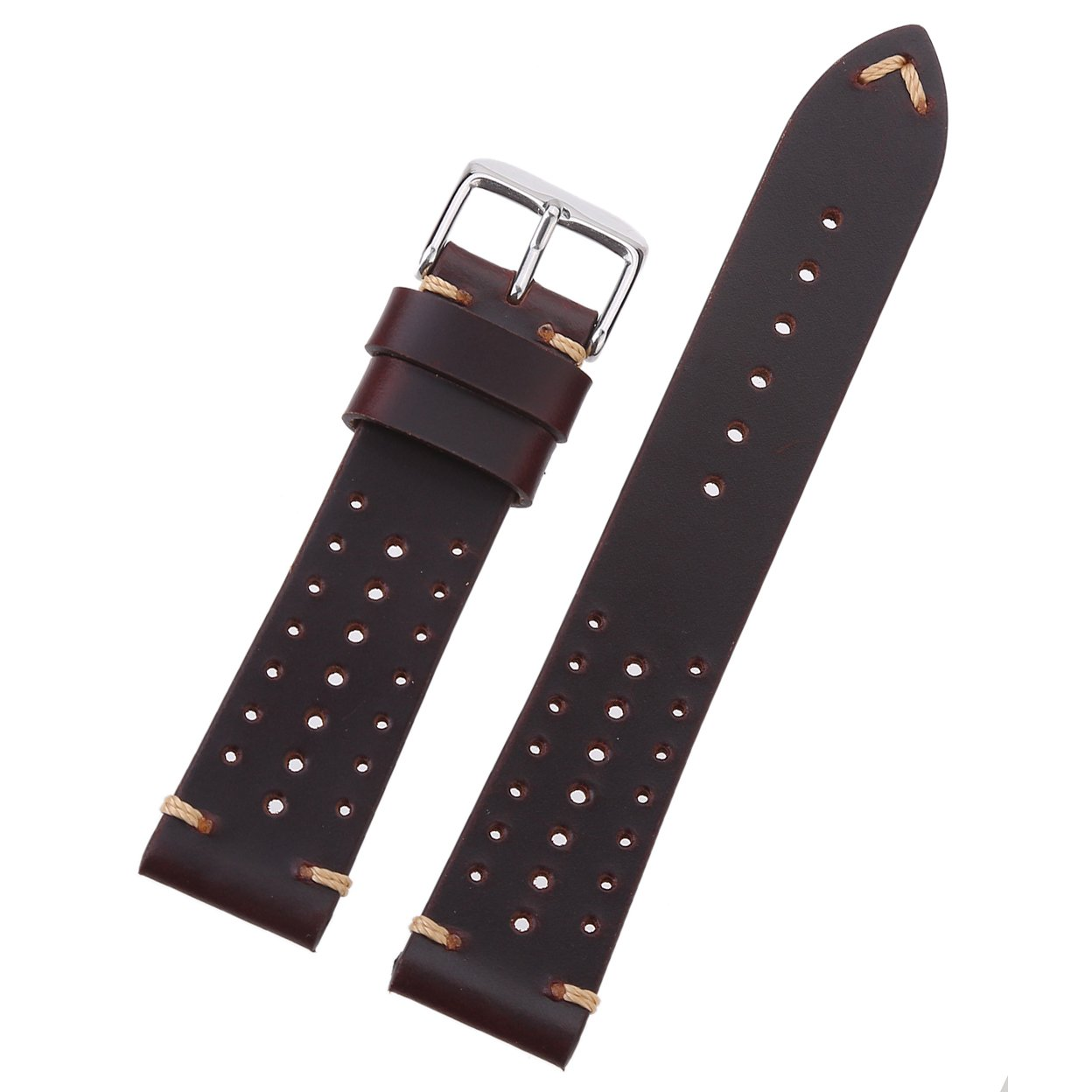 EACHE Special Design Hole Version 20mm Genuine Racing Sport Leather Watch Band Oil Dark Brown