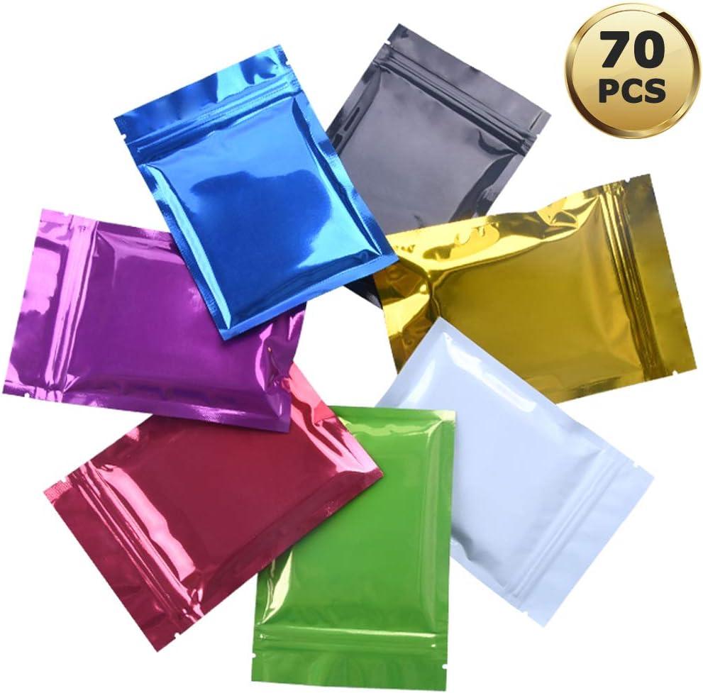 YuChiSX 70 Pi/èces Sacs Fermeture /Éclair Mylar Sacs de Papier dAluminium,Mylar Zip Lock Sacs Sacs en Aluminium Feuille,Double Face Sachet Herm/étique Mylar /à Feuille M/étallique Pouces