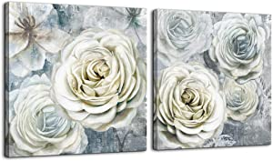 Canvas Wall Art Bedroom Decor Rose Painting Bathroom Pictures Modern Gray and White Framed Wall Decor Artwork for Walls Ready to Hang for Bedroom Flower Theme Wall Decoration Size 14x14 Each Panel