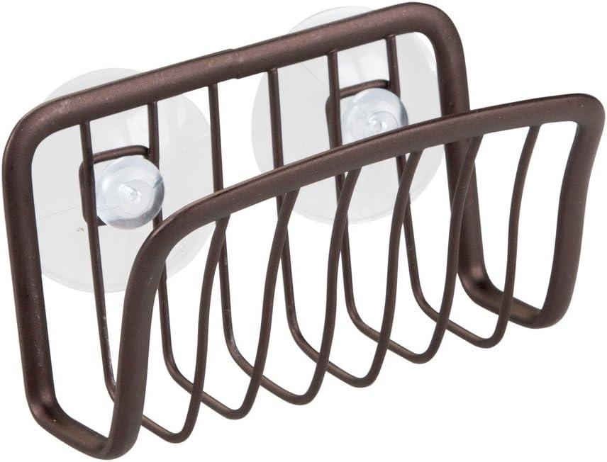 """iDesign Axis Steel Kitchen Sink Suction Sponge Holder - 2.25"""" x 4.5"""" x 2.75"""", Bronze"""