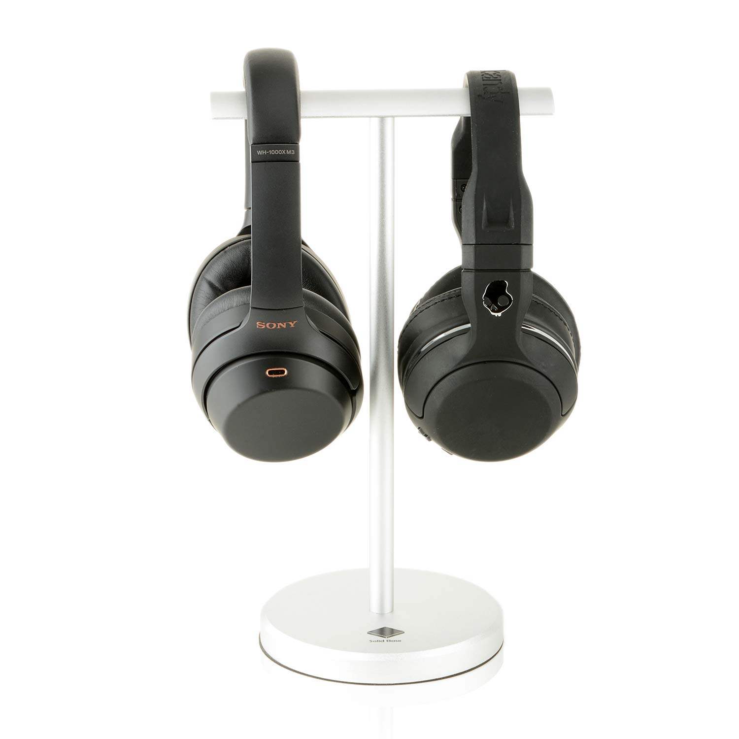 Solid Base Dual Sides Aluminum Headphones Stand Hanger for Monster DNA Beats Bose Skullcandy Sony Sennheiser Shure AKG Headphones with Handband (Chrome) -1 Year Warranty Included-