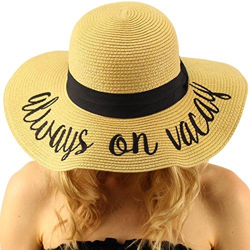 """Always on Vacay Wide Brim 4"""" Summer Derby Beach Pool Floppy Dress Sun Hat"""