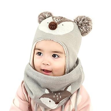 41714c985 Amazon.com: DREAMOWL Unisex Baby Toddle Kids Winter Hat Scarf Ear ...