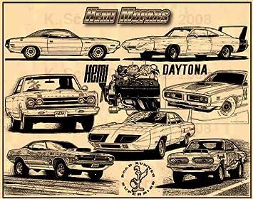 Amazon Com Hemi Mopars Muscle Car Art Print Posters Prints