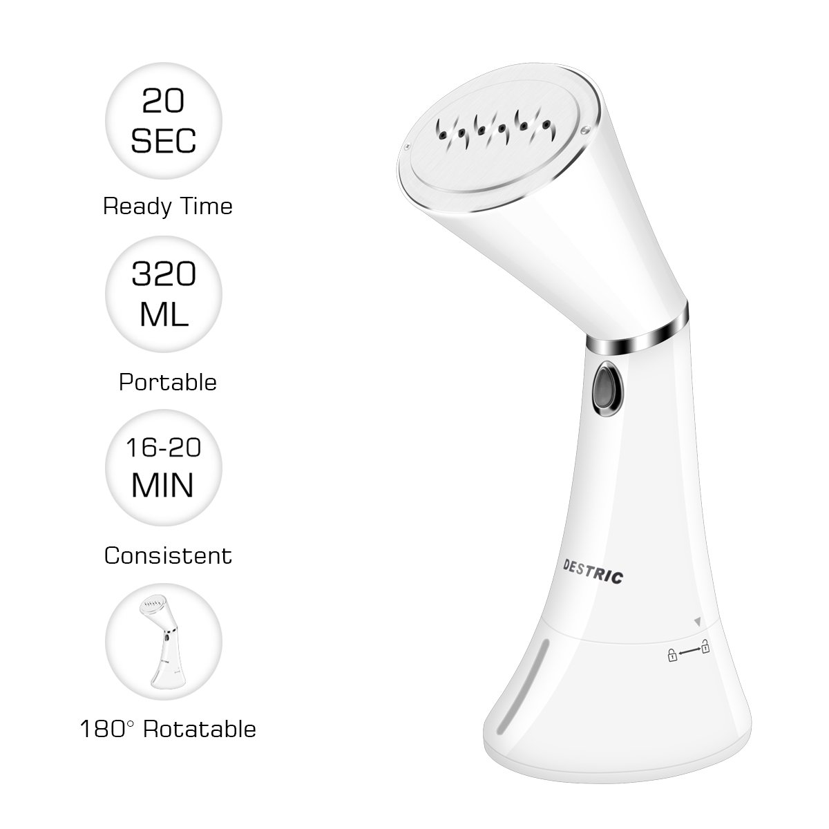 Clothes Steamer, DESTRIC Handheld Garment Steamer with 320ML Capacity 20s Fast Heat Portable Fabric Steamer 180 Degree Rotatable Anti-Drip Powerful Steamer Ideal for Home & Travel, 20min Continuous Steaming