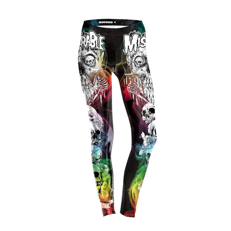 56f34dd151dab2 Frauen 3D Drucken Bunt Skelett Laufen Hosen Training Fitness Fitnessstudio  Leggings Stretch Strumpfhosen 60%OFF