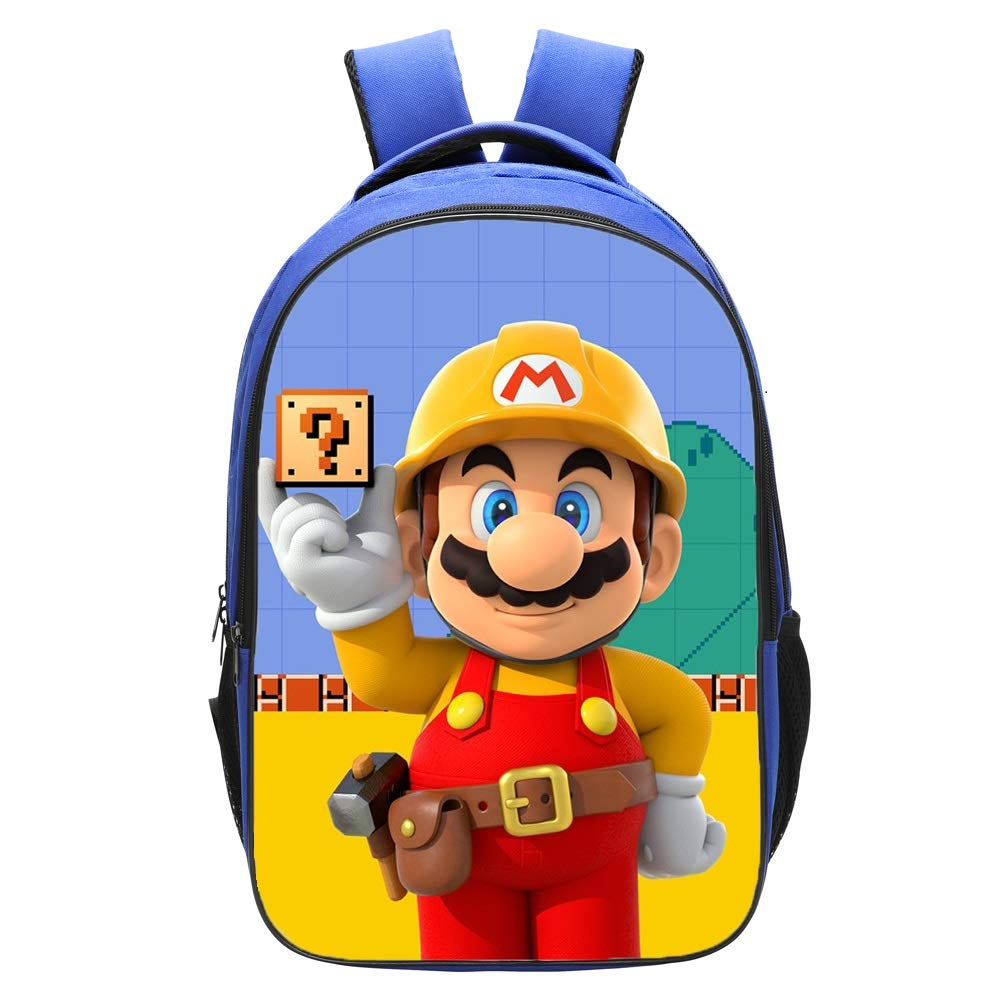 Qushy Super Mario Maker Backpack Schoolbag Bookbag Daypack Blue Bag (c)