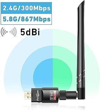 Dootoper WiFi Adaptador 1200Mbps 5dBi Antena WiFi USB Inalámbrico Dual Band (5GHz 866Mbps/2.4GHz 300Mbps) Receptor WiFi Dongle WiFi para Windows 10/8.1/8/7/XP/Vista Mac OS: Amazon.es: Electrónica